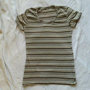 Poof! Short sleeve grey and gold striped top